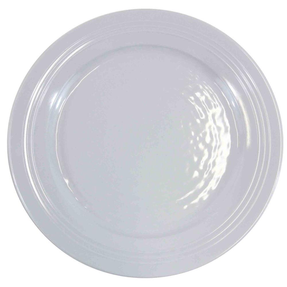 "Elite Durango White Pebbled Melamine Plate 11"" Dia White"