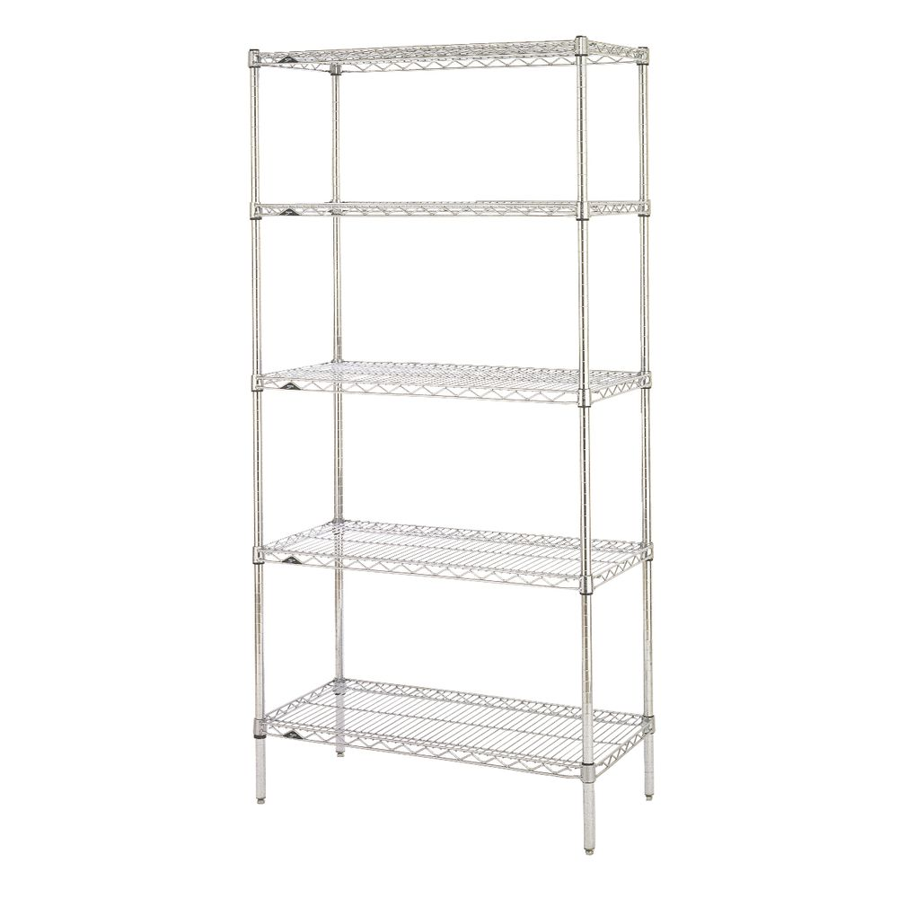 "Metro Super Erecta 5 Shelf Metal Shelving Unit 36""L  x 18""W x 74""H Chrome Plated"