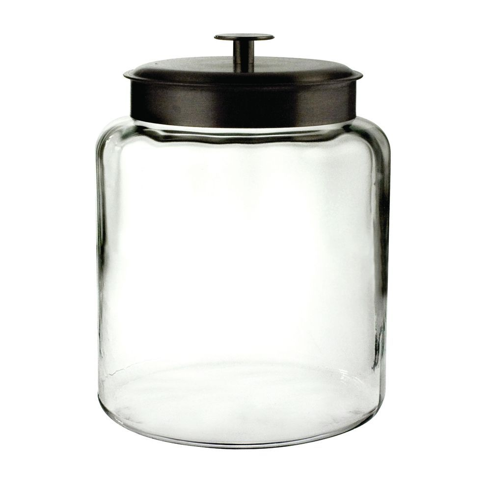 Anchor Hocking 2 Gal Glass Montana Jar With Black Metal Lid 8 3