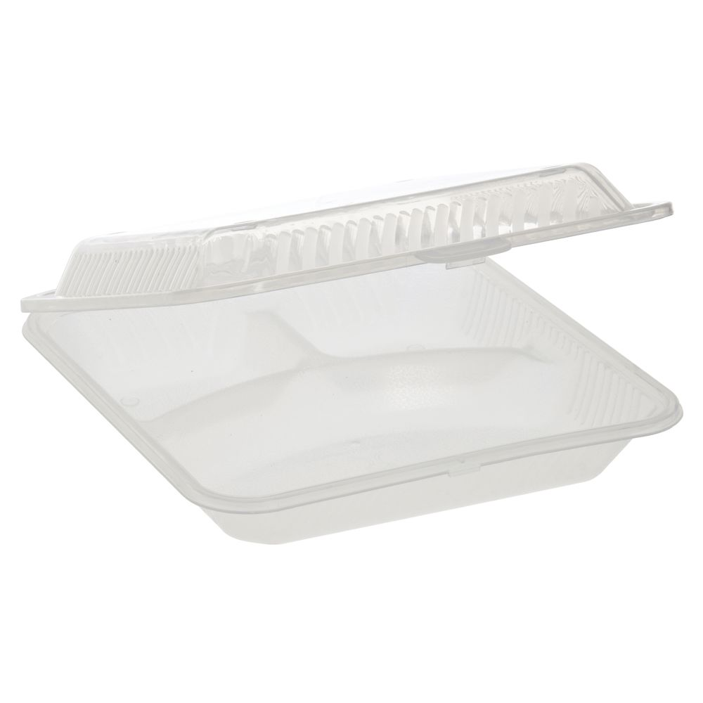CLAMSHELL, ECO TAKEOUTS, CLEAR, 3-COMPARTM