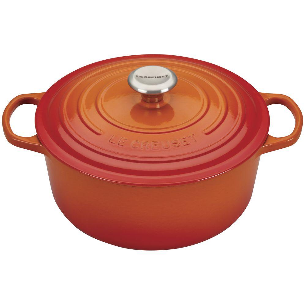 le creuset 7 5 quart dutch oven matte oven french round flame 2qt cast le creuset qt round flame orange enameled cast iron signature