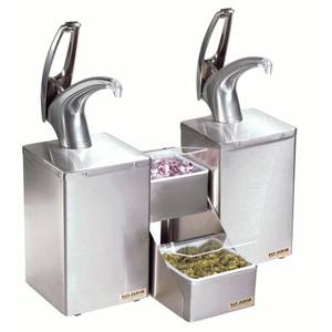 CENTER, CONDIMENT SILVER FINISH PUMPS
