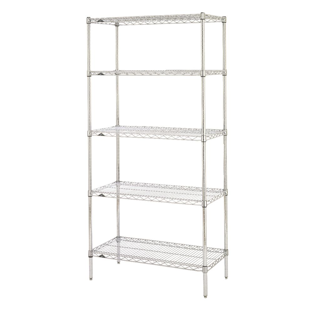 "Metro Super Erecta 5 Shelf Metal Shelving Unit 36""L  x 24""W x 74""H Chrome Plated"