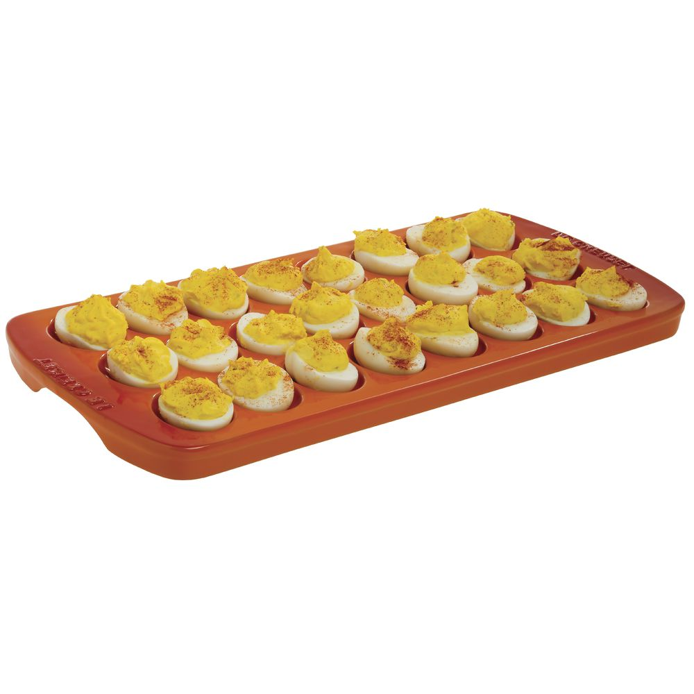 PLATTER, DEVILED EGG, FLAME ORANGE