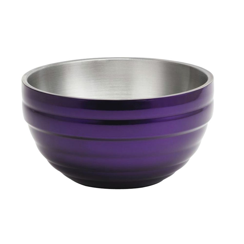 "Vollrath Double Modern Bowl 5 11/16""Dia x 3""H Painted Stainless Steel Purple"
