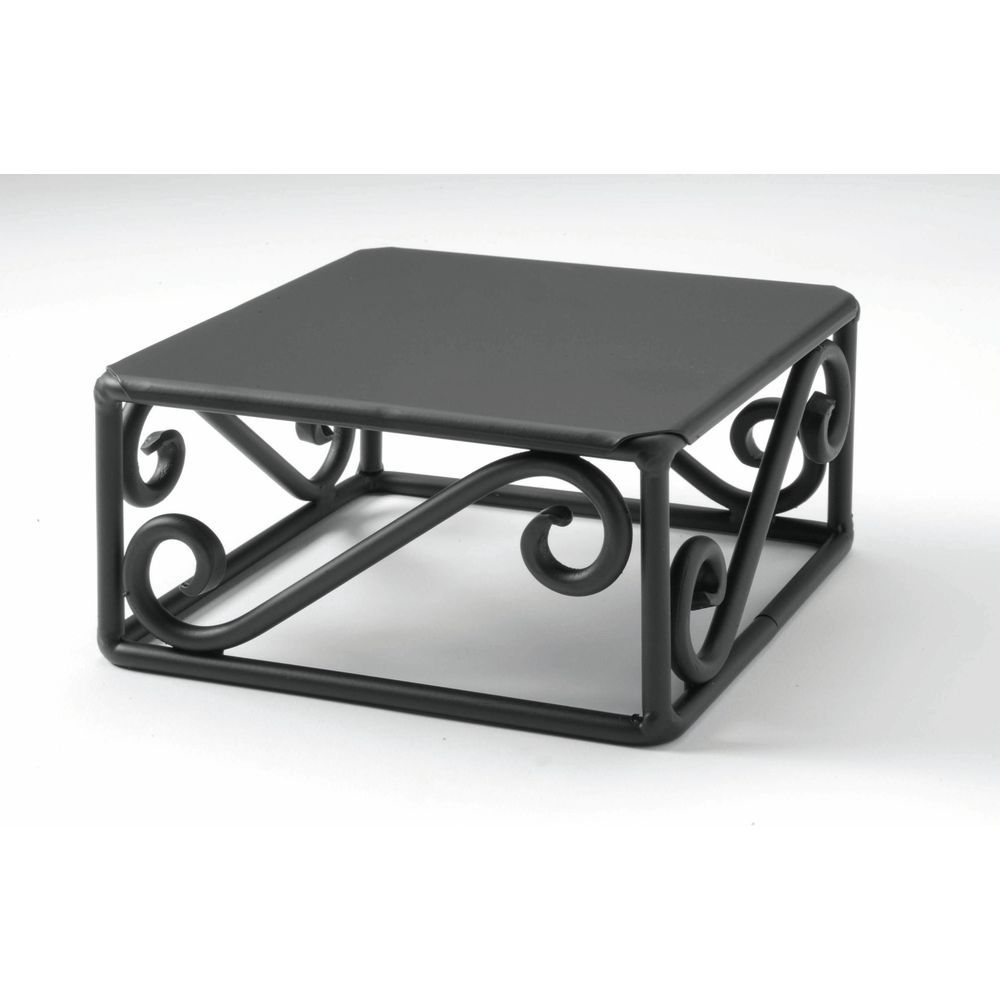 "RISER CUBE, BLK.SCROLL STEEL, 6X6X3""H"