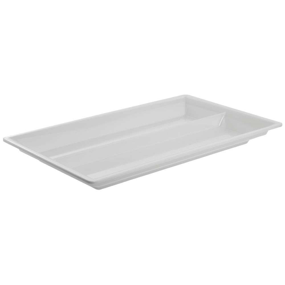 Cold Food Pan in White Divided Full Size