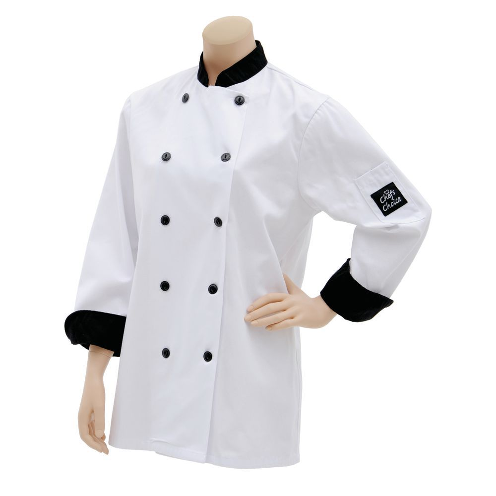 COAT, CHEF, MED.BLACK TRIM