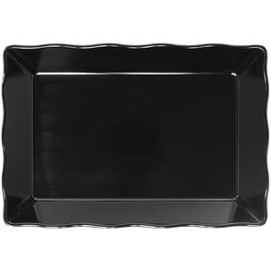 "BAKER, BLACK, SCALLOPED 14X9X2""H-MELAMINE"