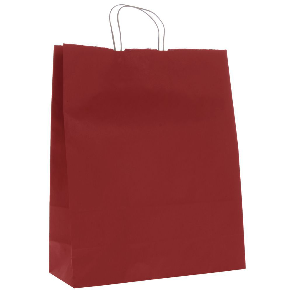 red shadow stripe kraft paper shopping bags with handles 16 l x 6