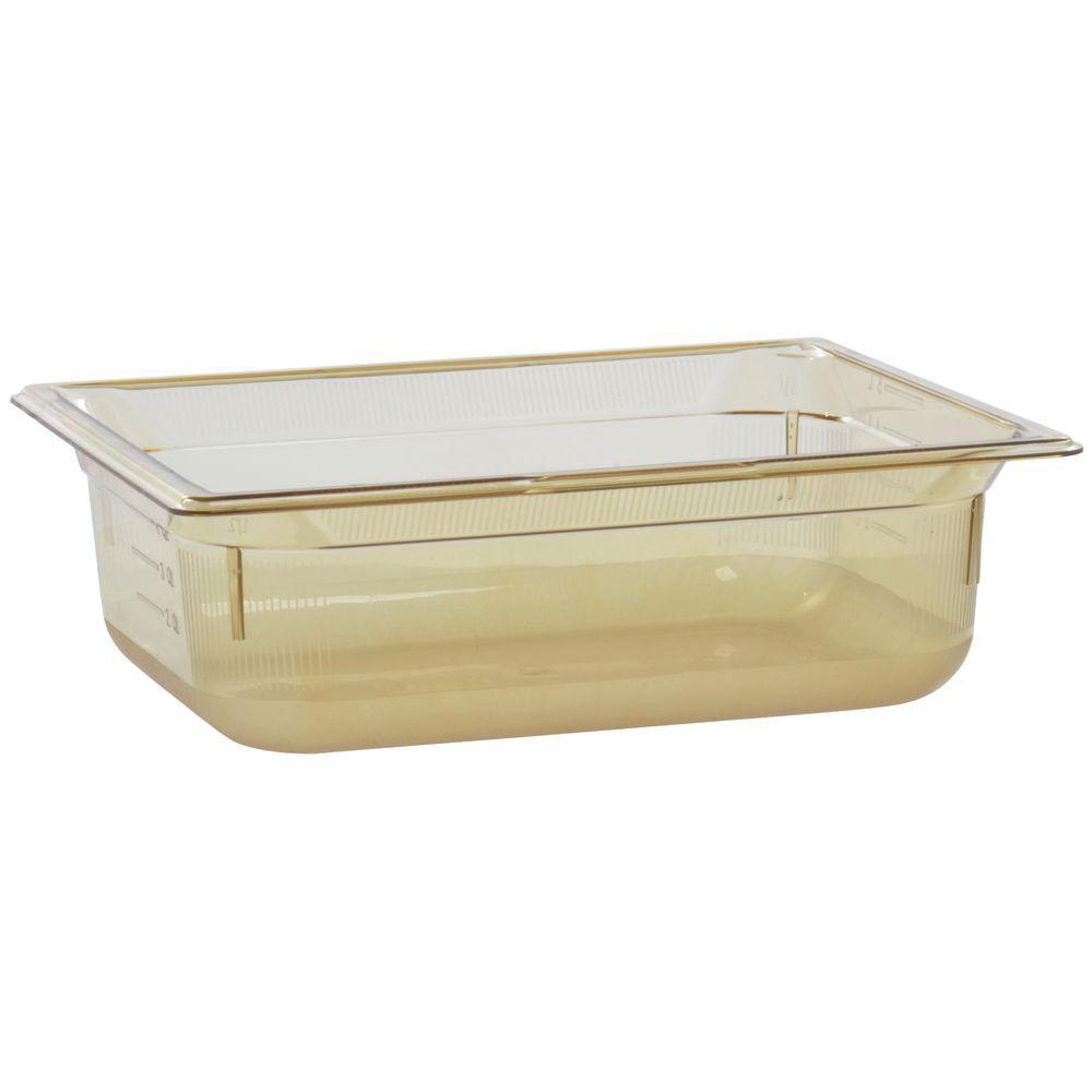 "Vollrath Super Pan Amber Plastic Catering Pan High Temp 1/2 Size 4""D"