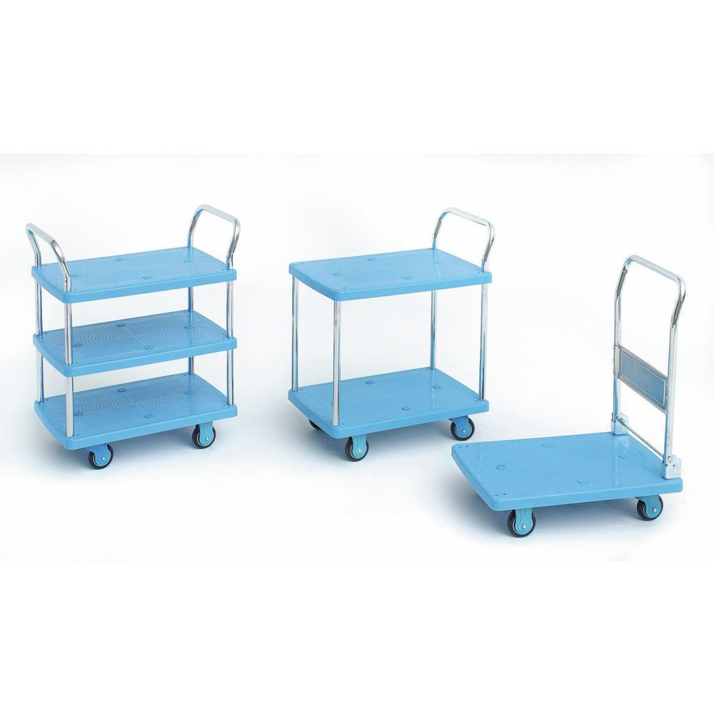 TROLLEY, 2-SHELF, 600# CAP., PLASTIC, HUBERT