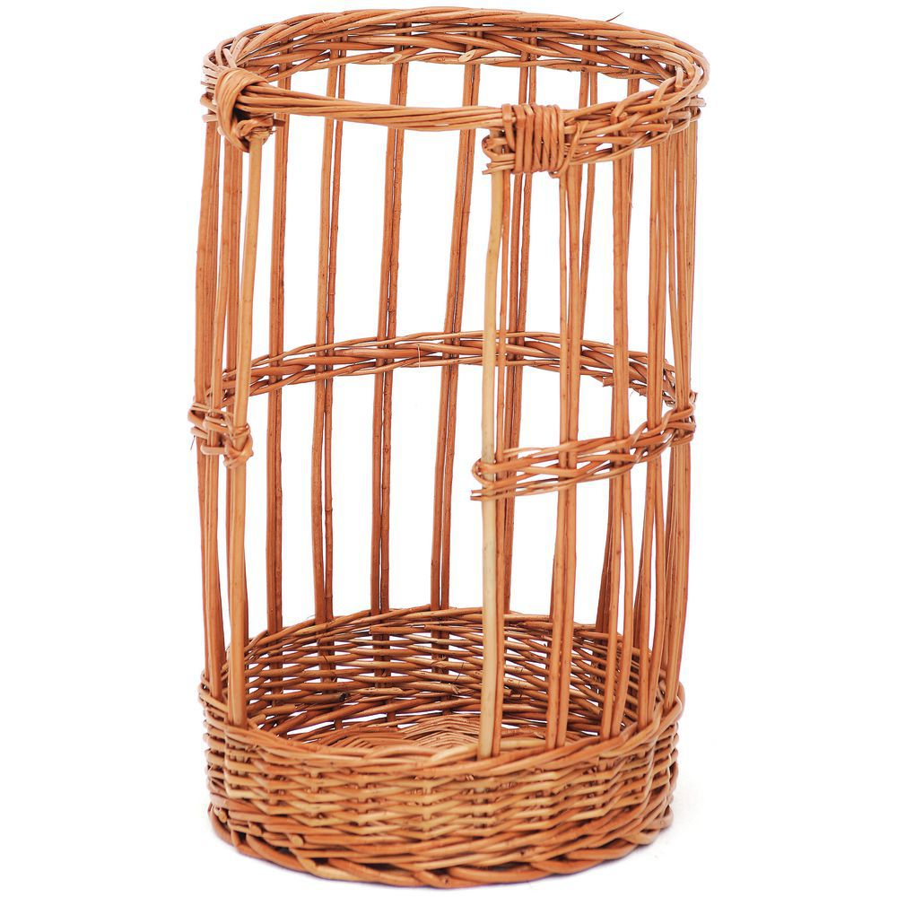 Basket with Handles Round Natural Willow 18Dia x 6 1//2H