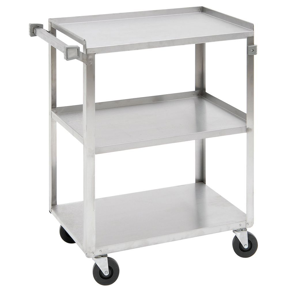 Hubert Stainless Steel 3 Shelf Medium Duty Utility Cart 39 1 4 L X 22 3 8 W X 37 1 4 H