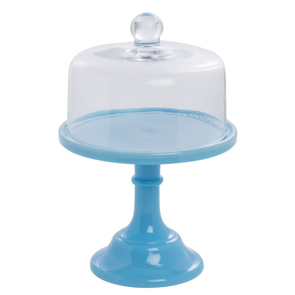 CAKE STAND, GLASS, 6DIAX5.5, ROBIN EGG BLUE