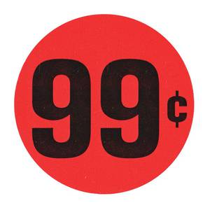 """LABEL, RED FLR, 99 CENTS, 1 1/2"""" DIA."""
