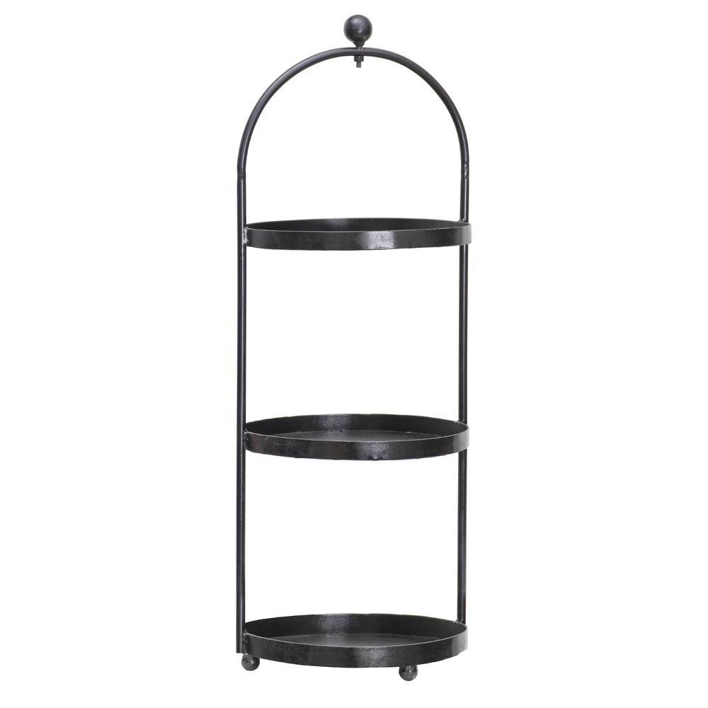 Expressly Hubert Round Black Iron 3 Tier Display Stand 12 1 3 Dia X 34 3 5 H