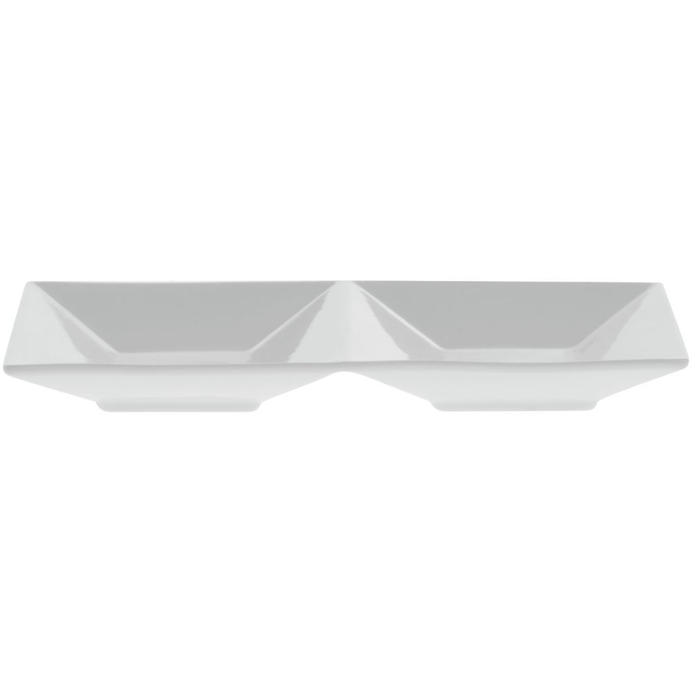 """Front Of The House Kyoto Divided Dish 9""""L  x 4 1/2""""W x 11/4""""H Bright White Porcelain Dinnerware"""