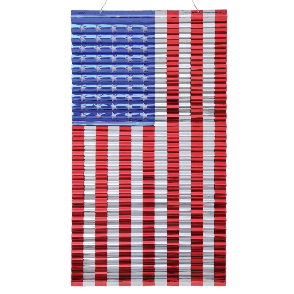 "FLAG, 24""X48"" METALLICS USA, RED/SILV/BLU"