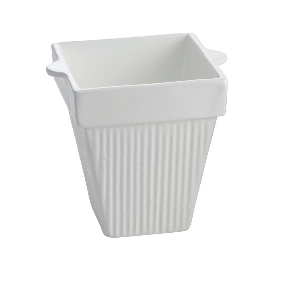 "BOWL, FLUTED, COATED ALUM, 6""SQ, WHITE, 6""D"