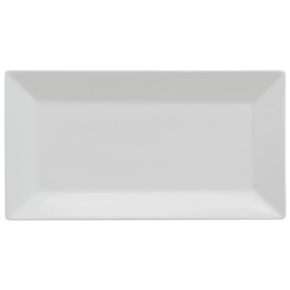 "Front Of The House Kyoto Rectangular Plate 13""L  x 7""W Bright White Porcelain Dishes"