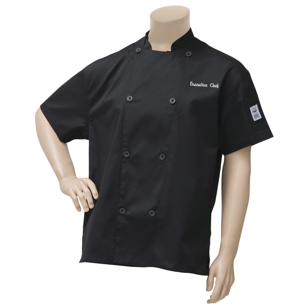 COAT, CHEF, VENT, BLACK, EMBROIDERED, XL