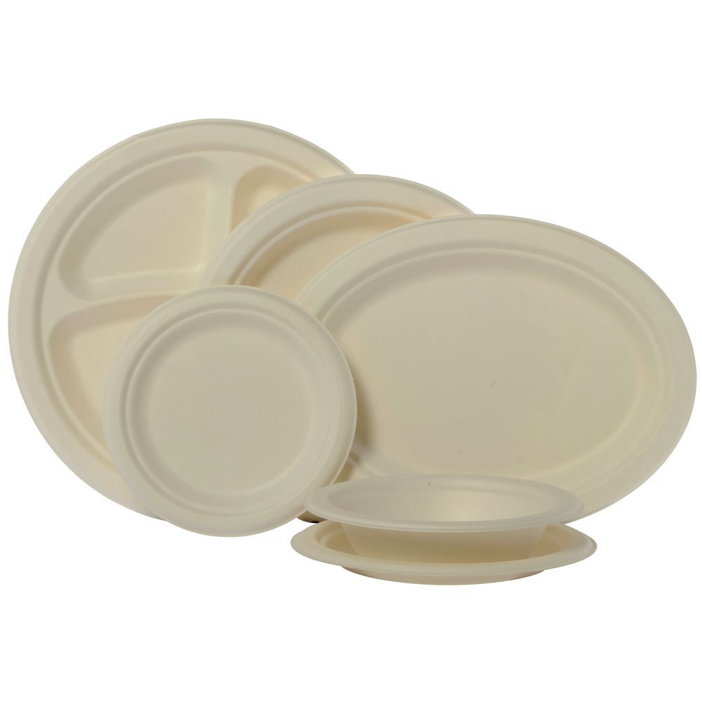 PLATES MOLDED FIBER 9 DIA  sc 1 st  Hubert.com & Natural White Disposable Paper Plate - 9