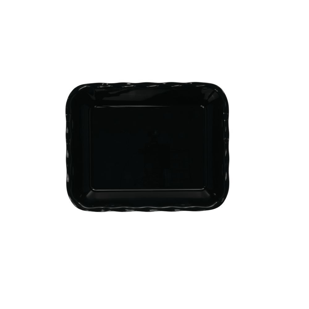 """Cambro Scalloped Deli Crock with 10lb Capacity in Black SAN Plastic 13 3/16""""L x 10 7/16""""W x 3 1/4""""H"""