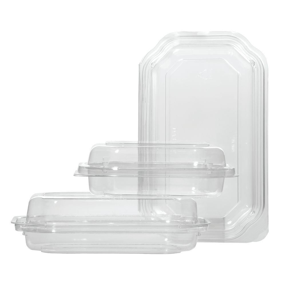 SNACK TRAY, CLEAR, HINGED, 8 OZ.