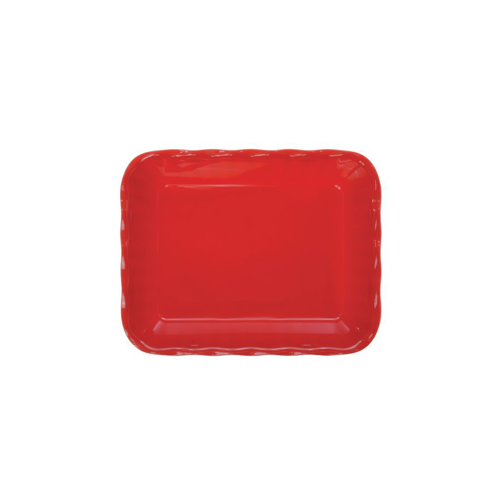 "Cambro Scalloped Deli Crock with 10lb Capacity in Red SAN Plastic 13 3/16""L x 10 7/16""W x 3 1/4""H"