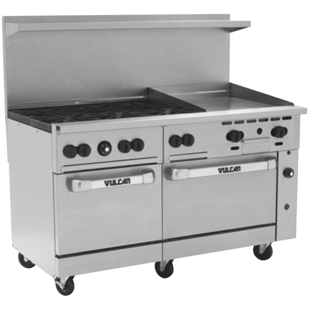 Pleasant Vulcan Endurance Natural Gas Restaurant Range 6 Open Burners 24 Griddle 2 Standard Ovens 60L X 34W X 58H Home Interior And Landscaping Ponolsignezvosmurscom