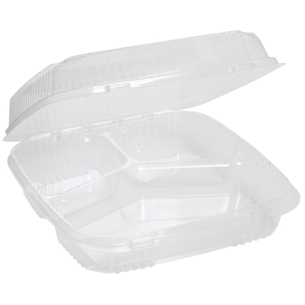 """Hinged Carryout Containers Clear Large 3-Section 9 1/2""""L x 9 1/2""""W x 3""""H"""
