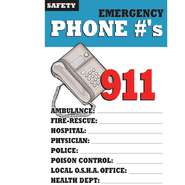 POSTER, FIRST AID, EMERGENCY PHONE#S, 11X17