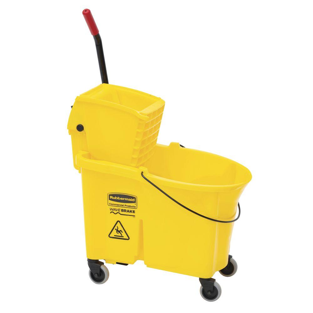 Rubbermaid 44 Qt Yellow Plastic Wavebrake 174 Mop Bucket With