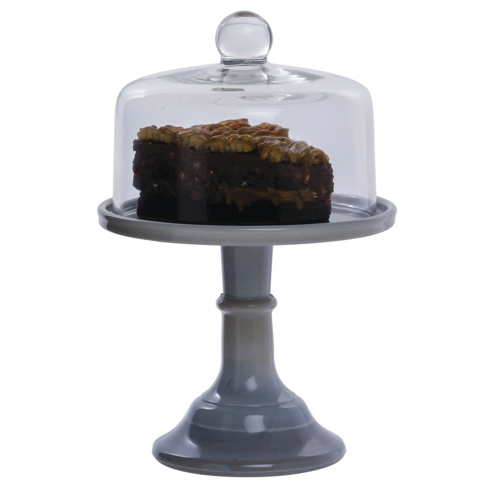 CAKE STAND, GLASS, 6DIAX5.5, GREY MARBLE