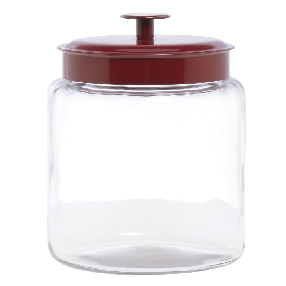 Anchor Hocking 96 oz Clear Glass Montana Jar with Red Lid 6 34