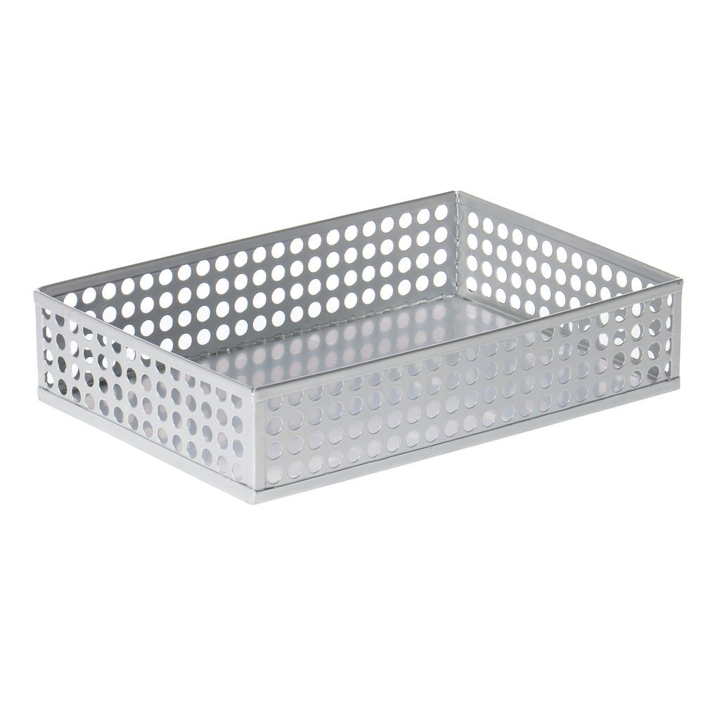 Design Ideas Edison Small Rectangular Punched Silver Metal Basket - 6L x 9W  x 2H