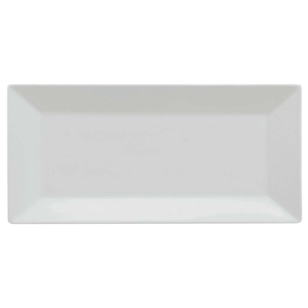 """Front Of The House Kyoto Rectangular Plate 18""""L  x 10""""W Bright White Porcelain Dishes"""