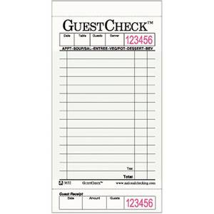 "GUEST CHECKS, SINGLE CARDBOARD, 3.5""X 6.75"