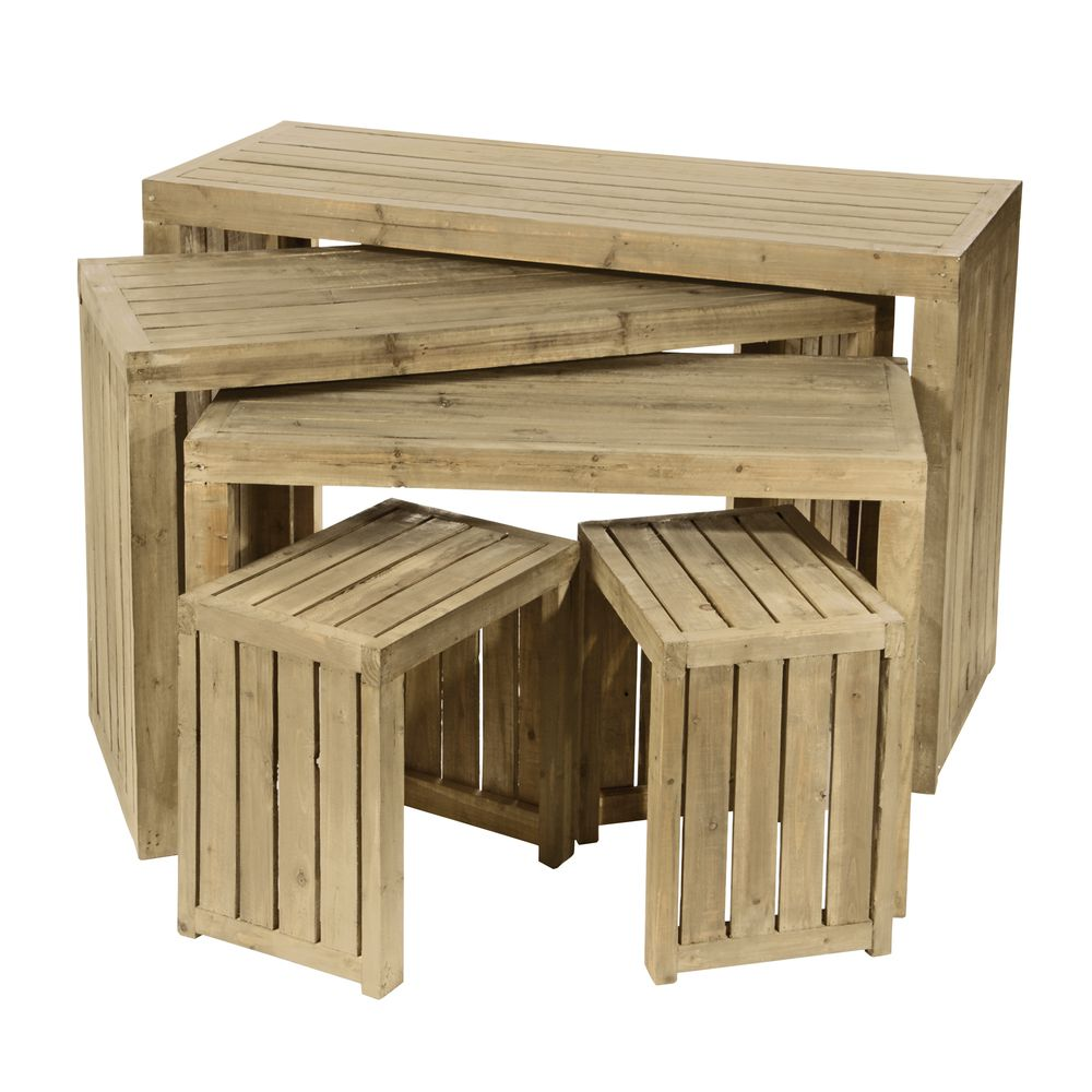 Natural Pine Wood Nesting Crate Table Set