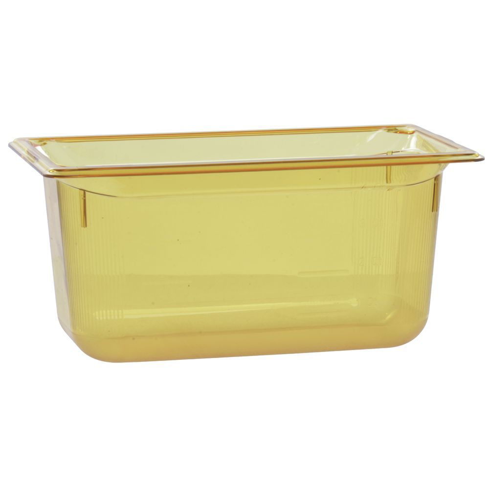 "Vollrath Super Pan Amber Plastic Catering Pan High Temp 1/3 Size 6""D"