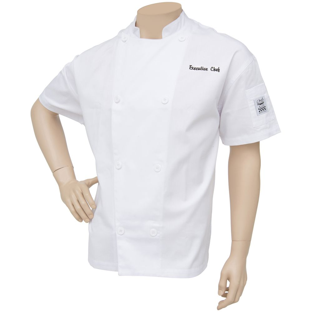 COAT, CHEF, VENT, WHITE, EMBROIDERED, LG