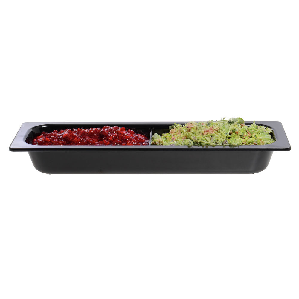 Cold Food Pan in White Half Size Divided