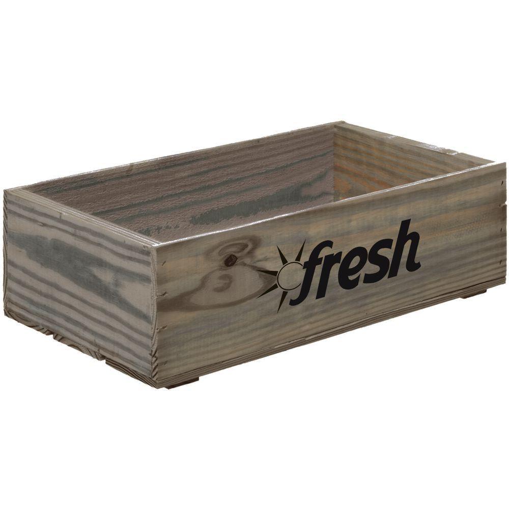 "Wooden Crate Fresh Logo Weatherwood Large 19 3/4""L x 11 1/4""W x 5 7/8""H"