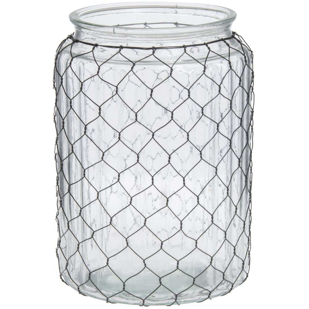 VASE, W CHICKEN WIRE, WIDE MOUTH - SO