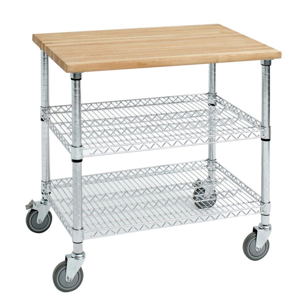 Expressly Hubert Stainless Steel Kitchen Cart With Solid Wood Top 50 L X 26 D X 39 1 2 H
