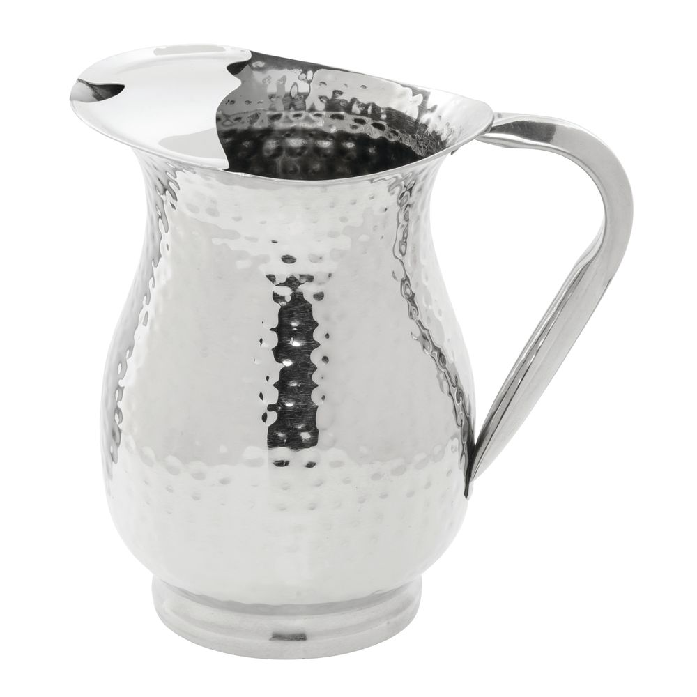 hubert 50 oz hammered stainless steel water pitcher hammered with ice guard. Black Bedroom Furniture Sets. Home Design Ideas