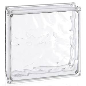 "ACRYLIC BLOCK, CLEAR, 8"" X 8"" X 3"" WAVE"