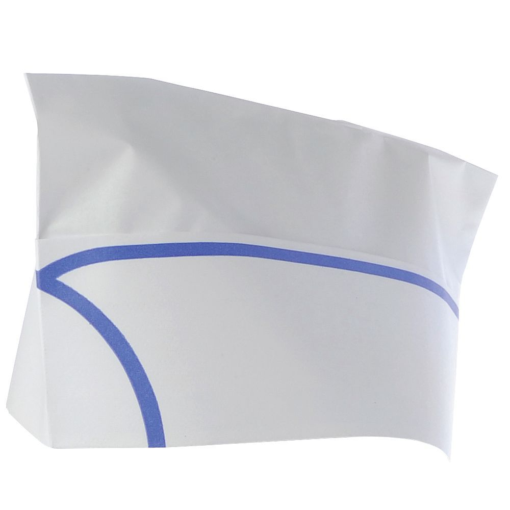 CAP, OVERSEAS, WHITE W/BLUE TRIM