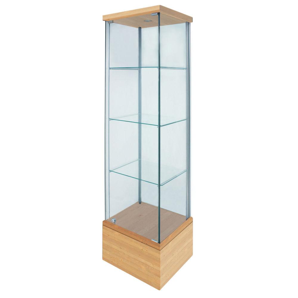 Tower Display Glass W Birch Base